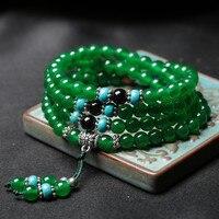 Vintage Multicapa Verde Amarillo Piedra Strand Beads Charms Pulseras Pulsera para Hombres Hechos A Mano de Las Mujeres de Yoga Orar Buda Joyería