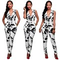 Elegant style 2016 summer rompers v-neck casual rompers sexy full length print suit