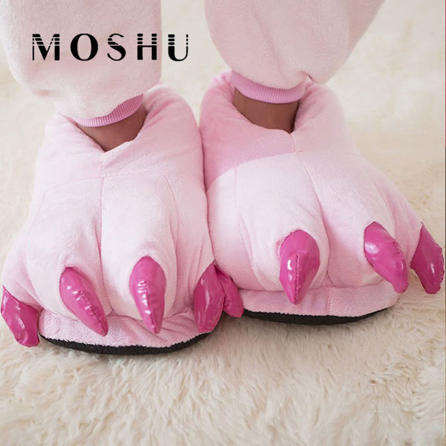 Funny Animal Paw House Slippers Winter Men & Women Slippers Female Monster Claw Children Slippers Cute Plush Home Shoes pantufa