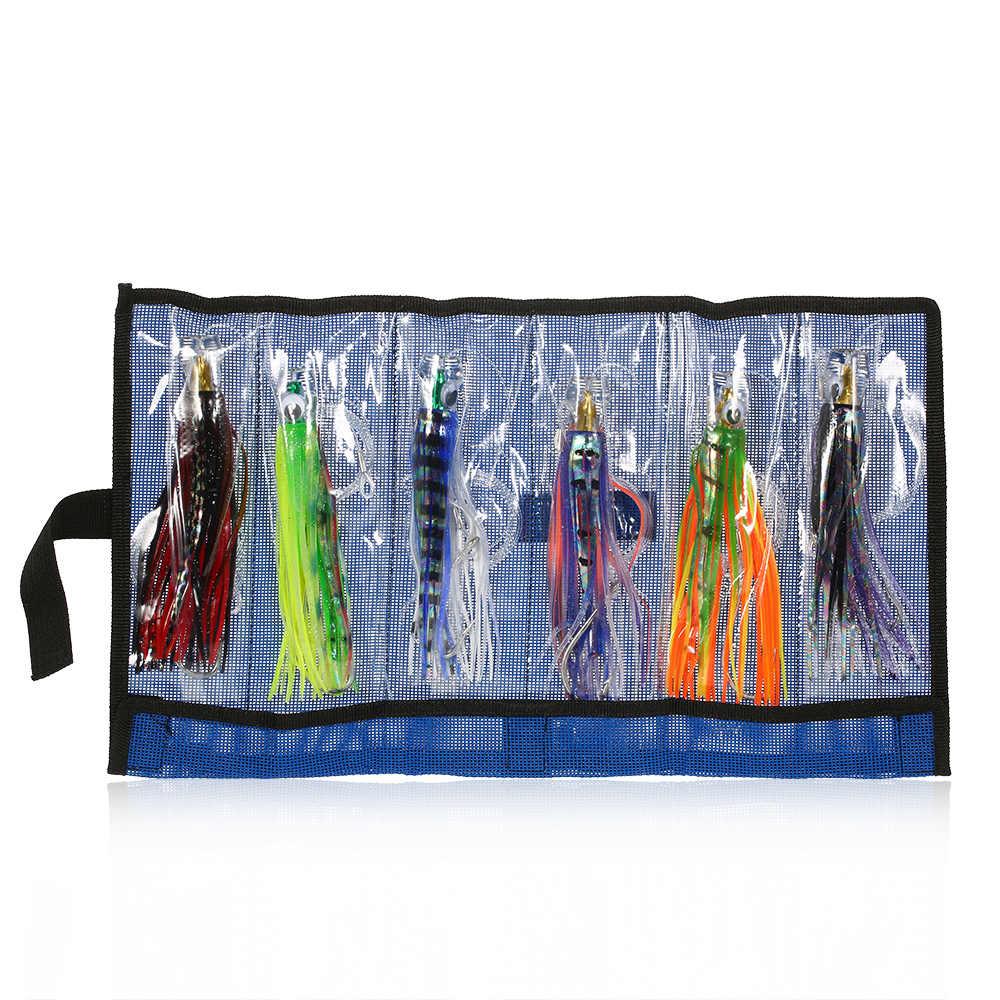 6 uds 16,5 cm señuelos para Pesca de carpas empujador estilo Marlin acrílico Octopus Trolling falda señuelos con bolsa Pesca