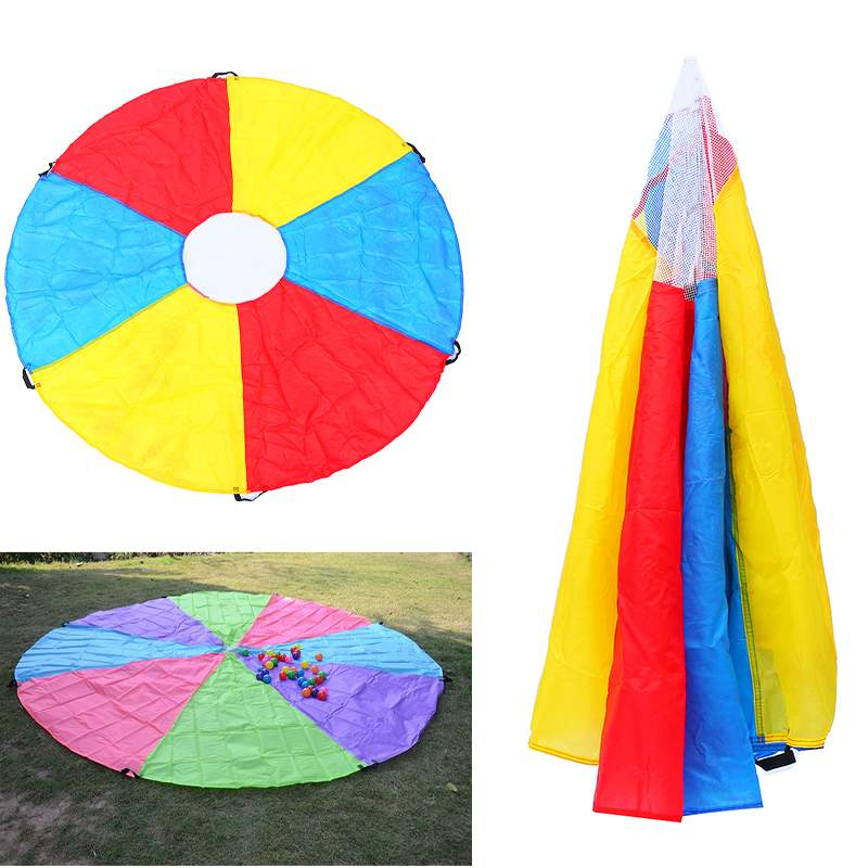 2m Kids Play Multi-Color Rainbow Parachute Outdoor Game Development Exercise Activity Sports Outdoor Teamwork Game Toy Kids