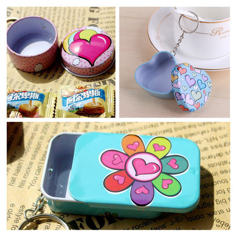Portable 12 pcs/lot Mini Lovely Round Heart Shape Storage Box with Key Chain,Cute Metal Box for Candy Tea,Kawaii Small Tin Boxes Lahore