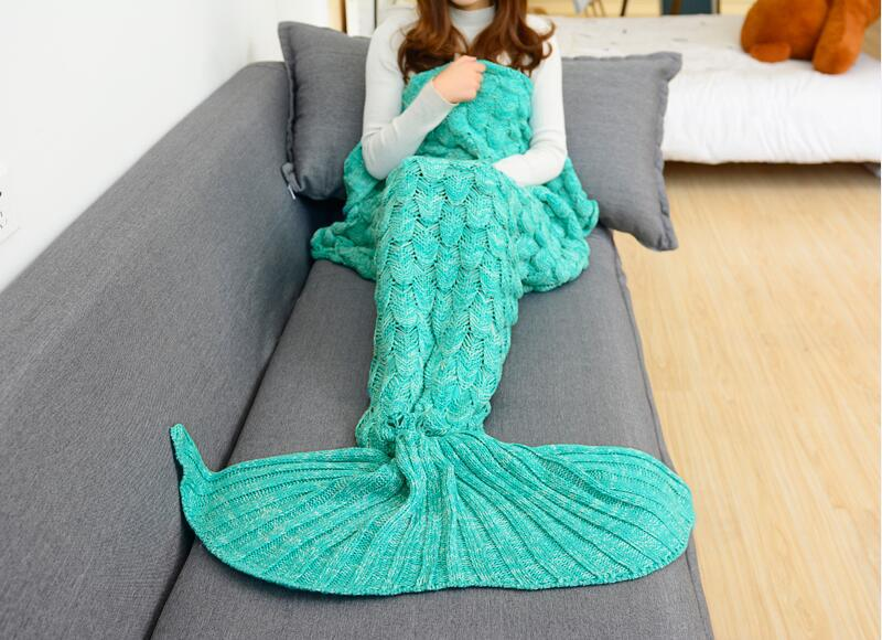 Image 3 - CAMMITEVER 180*90cm Big Mermaid Tail Blanket Crochet Mermaid Blanket for Adult, Soft All Seasons Sleeping Blankets-in Blankets from Home & Garden
