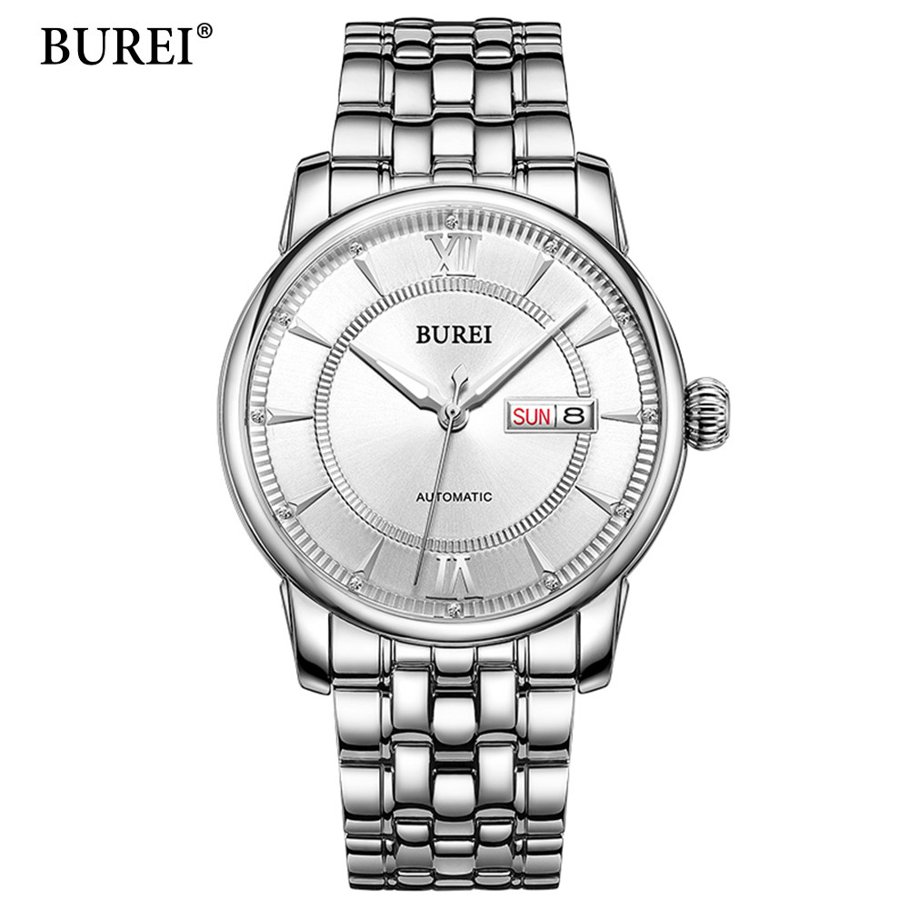 BUREI Men Watches Top Brand Luxury Day Date Stainless Steel Luminous Hour Clock Male Casual Quartz Watch Men Sport Wristwatch 2pcs new winter beanies solid color hat unisex warm soft beanie knit cap winter hats knitted touca gorro caps for men women