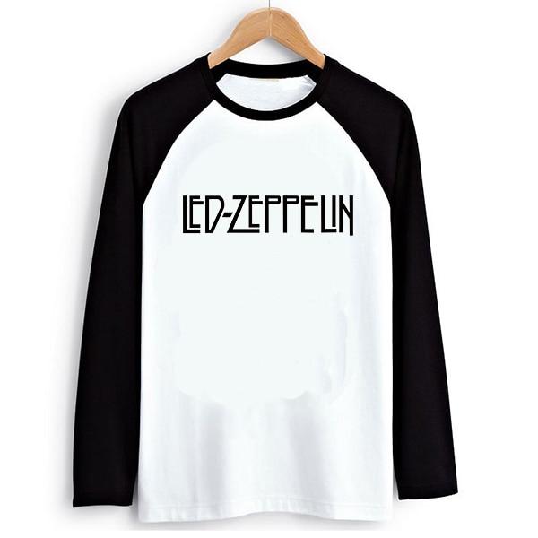 364c10c0458c7 Из светодиодов Zeppelin надписи Logo принт мужчины футболки вилочная часть реглан  длинный рукав футболки скейт человек тройник мальчик одежда парень Rock ...