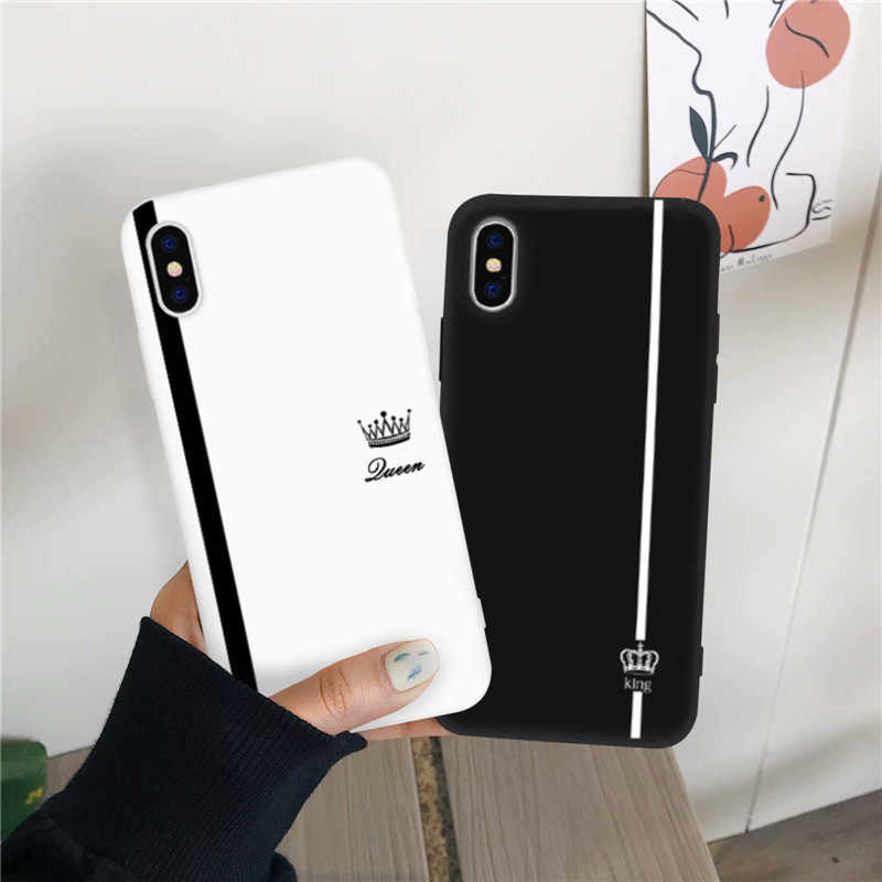 JAMULAR King Queen Lovers Couple Case For iPhone X XS MAX X XR 7 8 6 6s Plus Black White Silicone Soft Phone Cover For iPhone 7