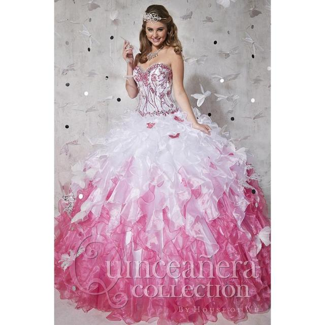 White and pink quinceanera dress
