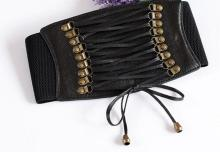 купить Punk Grommet Belt Long Tassel Fringe Corset Belts For Women Wide Zipper Buckle Lace Up Belt Ladies Slim Waist Belt Brede Riem по цене 263.13 рублей