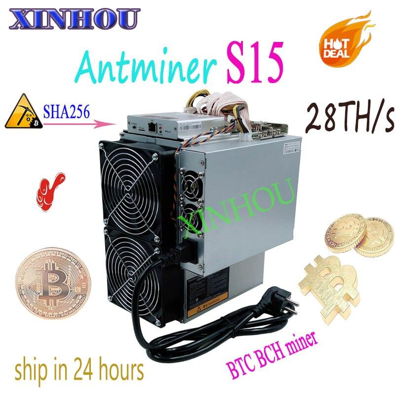 BITMAIN Più Nuovo 7nm Asic AntMiner S15 28 T SHA256 BTC BCH Minatore Con ALIMENTATORE Bitcoin Minatore Meglio di S9 T9 v9 WhatsMiner M3 M10