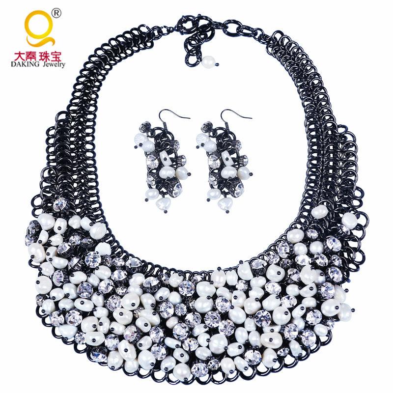 Ensemble de perles de mariée Vintage ensemble de perles et boucles d'oreilles ensemble de bijoux fantaisie de mariage