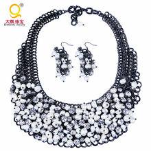 W stylu Vintage perłowa dla panny młodej kryształ zestaw naszyjnik z pereł i zestaw kolczyków ślubne kostium zestaw biżuterii tanie tanio Zestawy biżuterii Moda ST-P1009 Naszyjnik bransoletka Chłopcy Kobiety Zakochanych Dziewczyny Unisex Perły słodkowodne