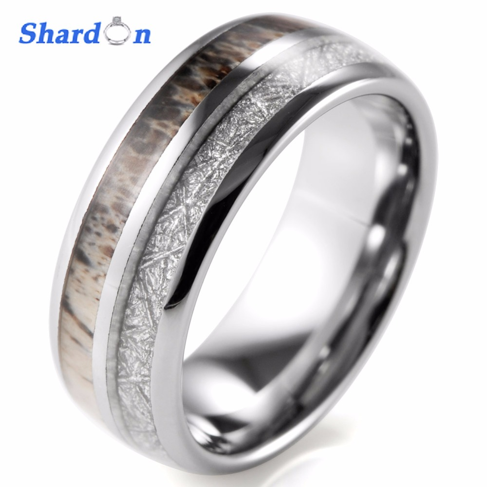 Mens Outdoors Bands: SHARDON Domed 8mm Mens Wild Antler Inlaid Tungsten Ring