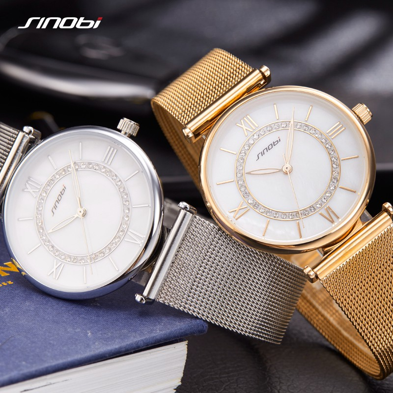 Image 2 - SINOBI Fashion Golden Women's Diamonds Wrist Watches Top Luxury Brand Ladies Geneva Quartz Clock Female Bracelet Wristwatch 2017-in Women's Watches from Watches