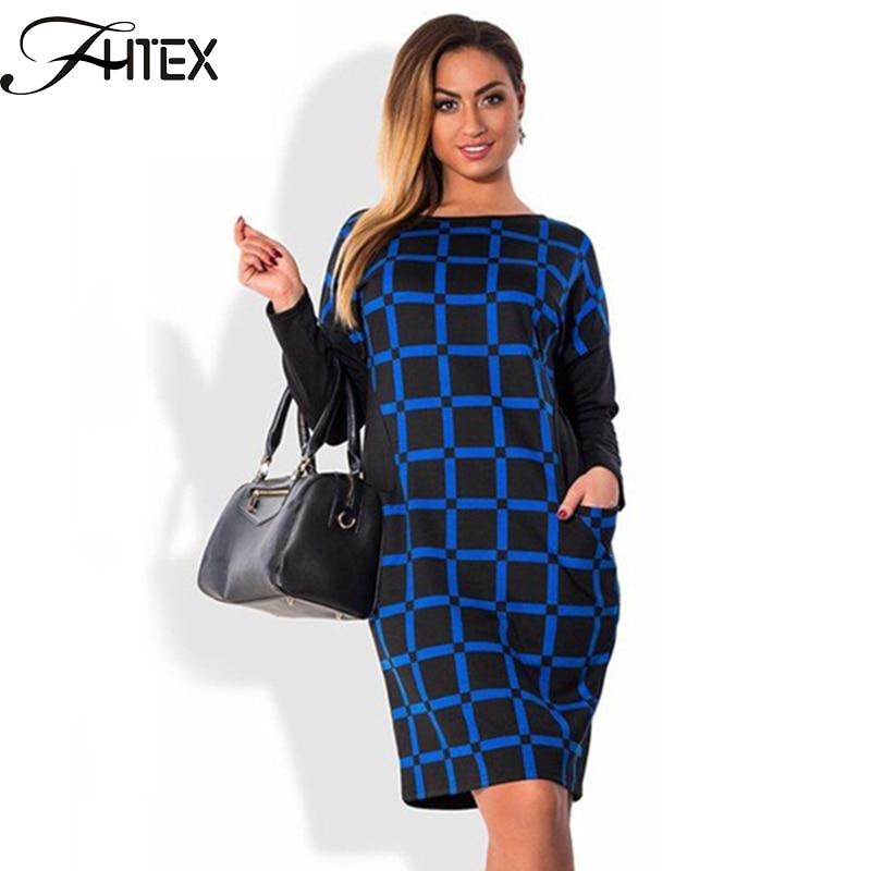 5c851ebe3a32 Autumn Winter Dress Women Plaid Patchwork Color Block Long Sleeve Plus Size  6XL Dress Elegant Shift Casual Slim Office Dress-in Dresses from Women's ...