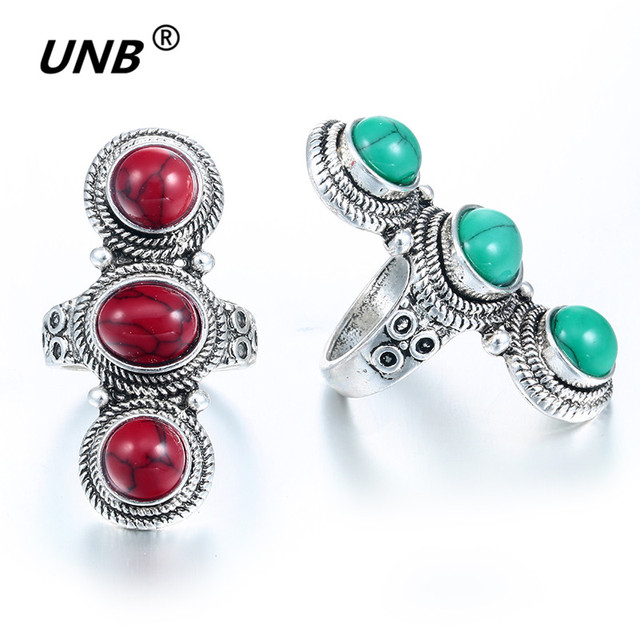 US $1 1 25% OFF|Fashion Jewelry Vintage Look Tibet Alloy Antique Silver  Plated Fantastic Three Green stone Rings anel feminino wholesale lot-in  Rings