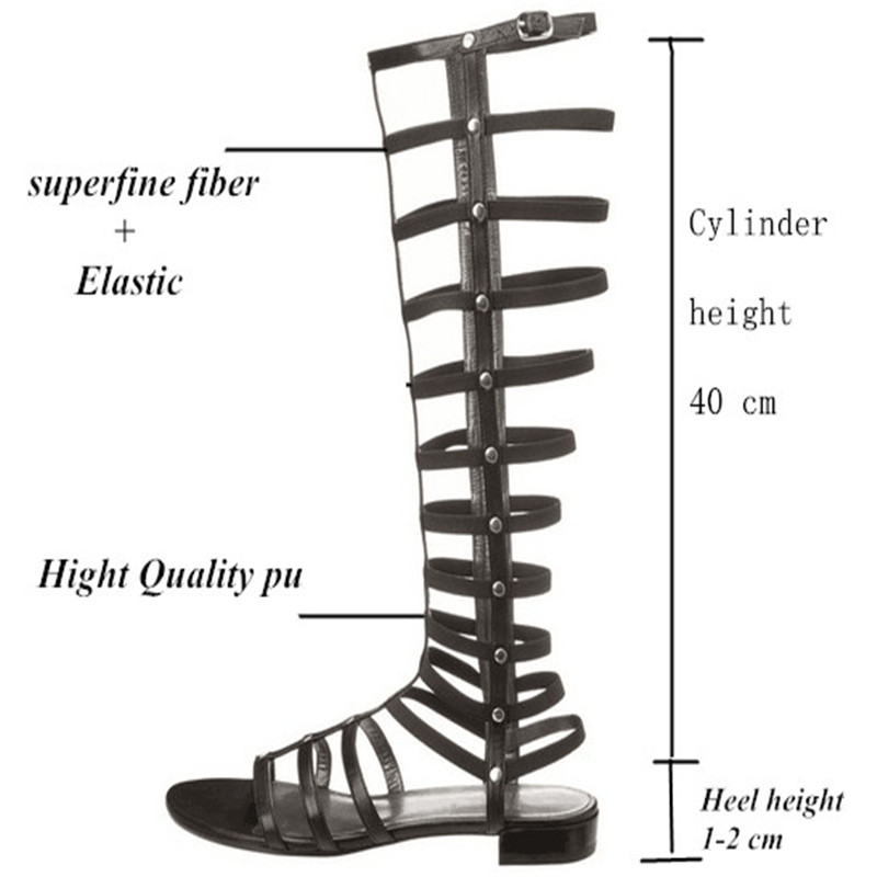 8319339dc3ad 2016 Free Shipping New Arrival Knee High gladiator sandals women  Comfortable Flats Straps Heel Sandals Summer Shoes-in Women s Sandals from  Shoes on ...