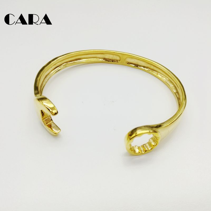 CARA new 4 colors Fashion 316L stainless steel Spanner bracelet bangles men  jewelry hip hop mens fashion punk bangles CARA0224 6a2a26fad4f4