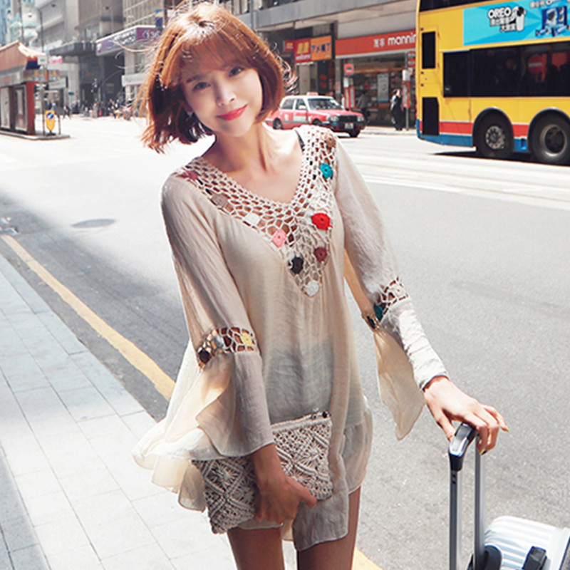 Qiukichonson Ladies Blouses Summer Tops Bohemian Hollow Out Crochet Beach Cover Up Sweet Flare Sleeve Transparent Long Shirts in Blouses amp Shirts from Women 39 s Clothing