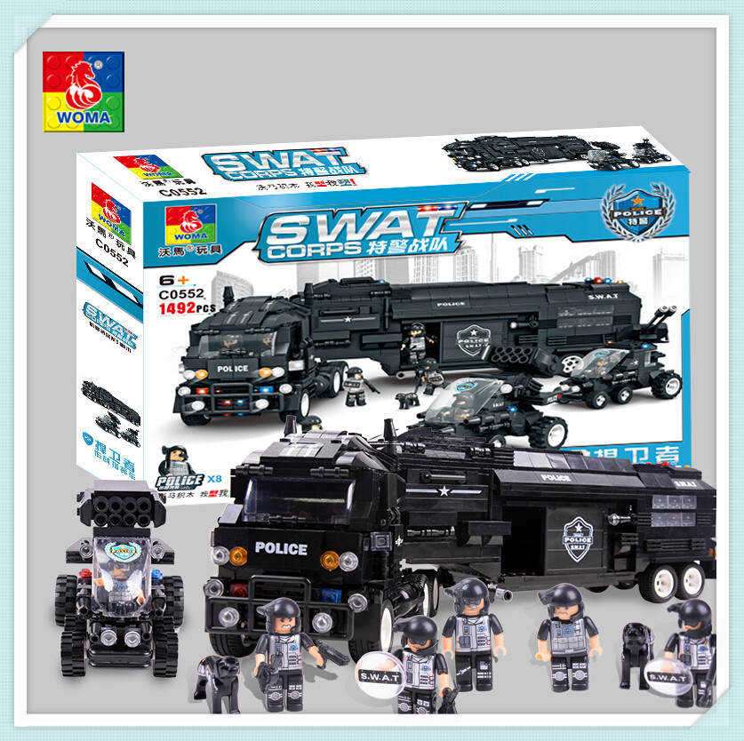 WOMA Military 1492pcs SWAT Police Model Building Blocks Assembly Building Block Education Bricks Gift Block