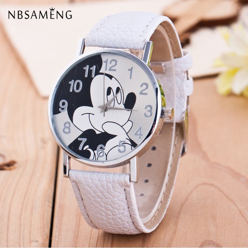 New Women Watch Cartoon Mouse Pattern Fashion Casual Leather Strap Clock Girls Kids Quartz Wristwatch Relogio Feminino 2016 spider cartoon watch children kids wristwatch boys clock child gift leather wrist watch quartz cartoon watch quartz watch