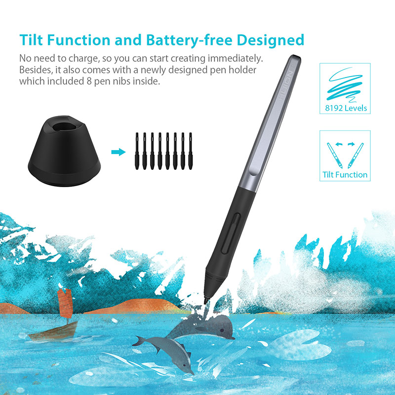 HUION H610 PRO V2 Newest Graphic Tablet Professional Digital Drawing Pen Tablet with Battery-Free Pen Tilt Function 8192 Levels 1