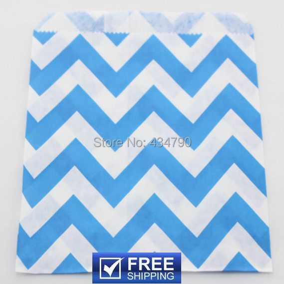 200pcs Choose Colors Royal Blue Wide Chevron Birthday Party Treat Bags Cheap Candy Favor Cookie