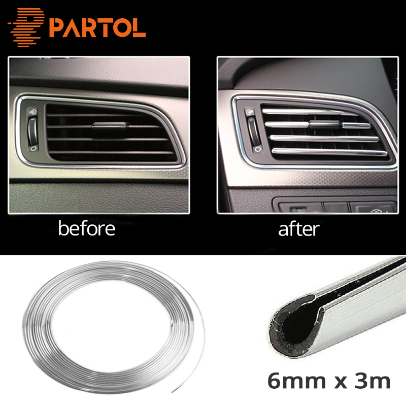 Partol 6mm 3m Car Styling Tira de moldura Decoración del coche - Autopartes