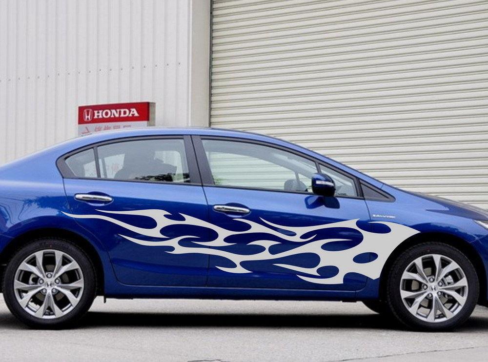 HotMeiNi, 200 см * 37 см, 2x, автомобильная, гоночная, огненная, дверная наклейка, моторная, виниловая, графическая наклейка, графические наклейки, авт
