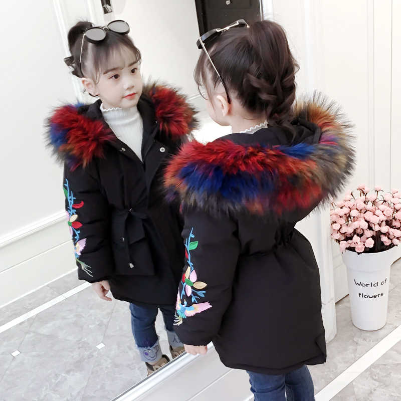 28e41d7a3a93d 2018 New Winter Girls Parka Jacket Hooded Zipper Kids Coat For Girls Padded  Jacket Embroidery Children s