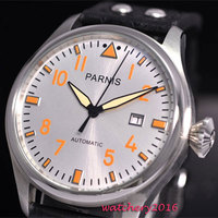 Newest 47mm parnis white dial ST 2551 movement orange marks Rivets Strap SS Case date adjust automatic Mechanical men's watch