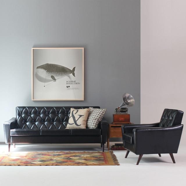 Nordic minimalist leather sofa IKEA sofa small apartment living room ...