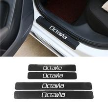 Accesorios Placa de raspado del alféizar de la puerta protectores de fibra de carbono StickersFor Skoda Octavia A5 A7 RS Fabia superb Car style