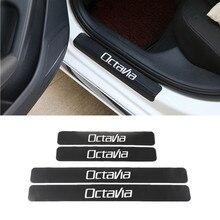 اكسسوارات صفائح لعتبة باب السيارة الحرس ألياف الكربون حامي StickersFor سكودا اوكتافيا A5 A7 RS فابيا رائع تصفيف السيارة