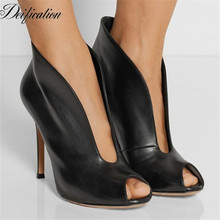 Fashion V Style Suede Women Shoes Thin High Heels Leather Solid Ladies Dress Shoes Sexy Peep Toe Ankle Boots Botines Mujer 2019 mabaiwan suede ankle boots square toe zipper botines mujer high heels women pumps colorful lace short botas dress shoes woman