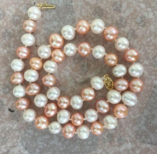 925 argent or 9-10mm rond mer du sud blanc rose multicolore collier de perles 18 pouces925 argent or 9-10mm rond mer du sud blanc rose multicolore collier de perles 18 pouces