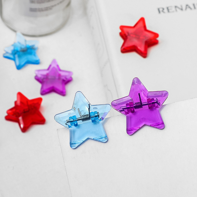 5pcs Fashion Candy Color Plastic Star Clip Photo Book Mark Folder Clips Home Office School Supplies Student Stationery Bookmark