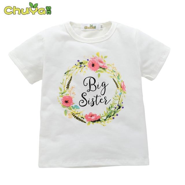 2018 Summer Cute Girls Clothes 100 Cotton Print Design Big Sister T
