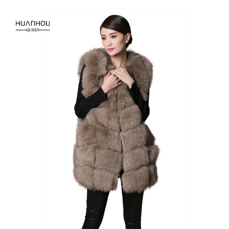 Bont vos vest korte stijl o-hals kaki damesmode 2016 nieuwe winter - Dameskleding