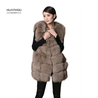 Huanhou queen 10 colors real fox fur vest O Neck gilet with high quality,extra large plus size touch feel good