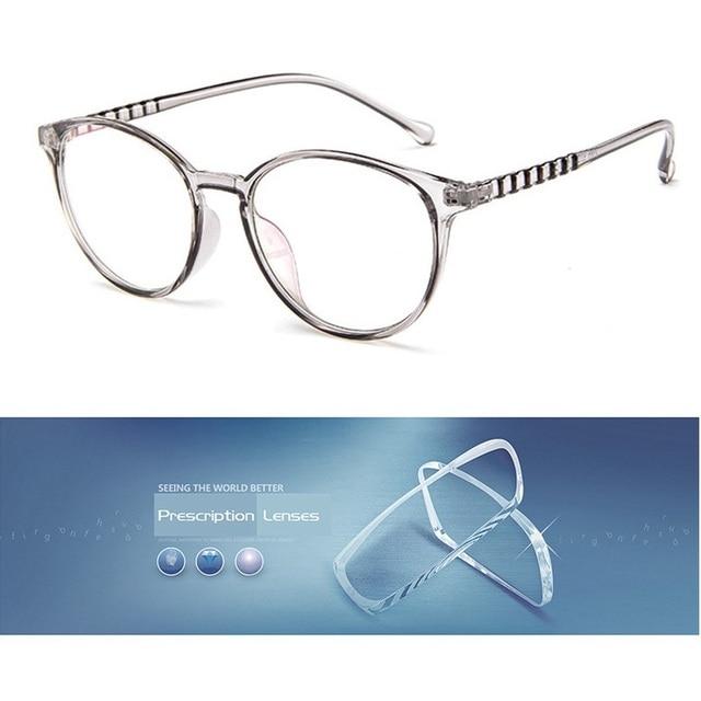 69db02e286 Cubojue Transparent Round Women men s prescription glasses with 1.56 1.61 1.67  index resin lens Female Nerd Points Retro