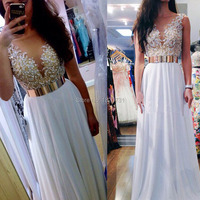 Vestidos De Graduacion Largos 2019 Long White Prom Dress Elegant Pearls Deep V Neck Formal Evening Gowns Dresses
