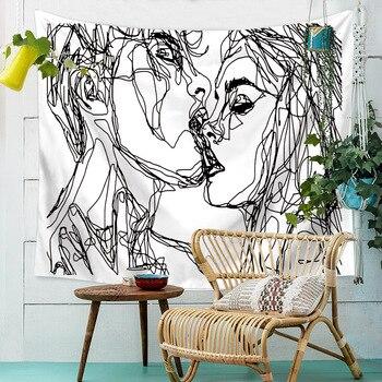 Bianco e Nero Astratta Della Streak Arazzo Da Parete Uomo e Donna Artistico Pittura Amore Panno Unico Appeso Framless Pittura Tessuto