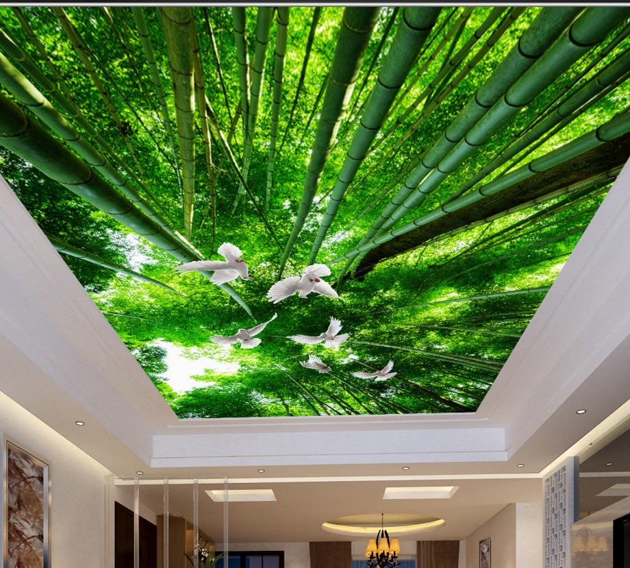 3d ceiling bamboo pigeons wallpaper custom fresh hd 3d for Ceiling images hd