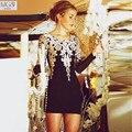 Nuevo diseño 2016 solid MGS belleza negro corto Mini recto cucharada de encaje bordado Appliqued los vestidos coctel de partido atractivo del regreso al hogar del vestido