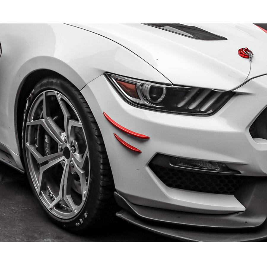 YAQUICKA For Ford Mustang 2015 2016 2017 Car Exterior Front Bumper Corner Decoration Strips Trim Styling Accessories ABS 4Pcs body kits front bumper parts rear diffuser car accessories for ford mustang coupe 2015 2017