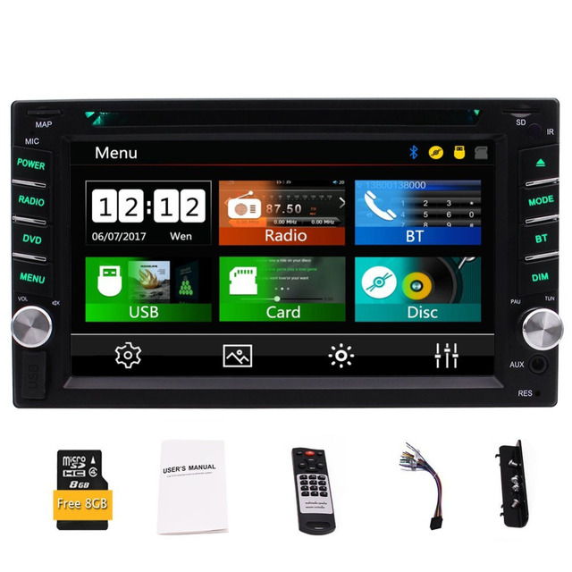 6.2'' Double Din Car Audio Stereo Receiver FM/AM/RDS Radio DVD player 1080P Video Bluetooth SWC EQ USB/TF+Free Reomte Control