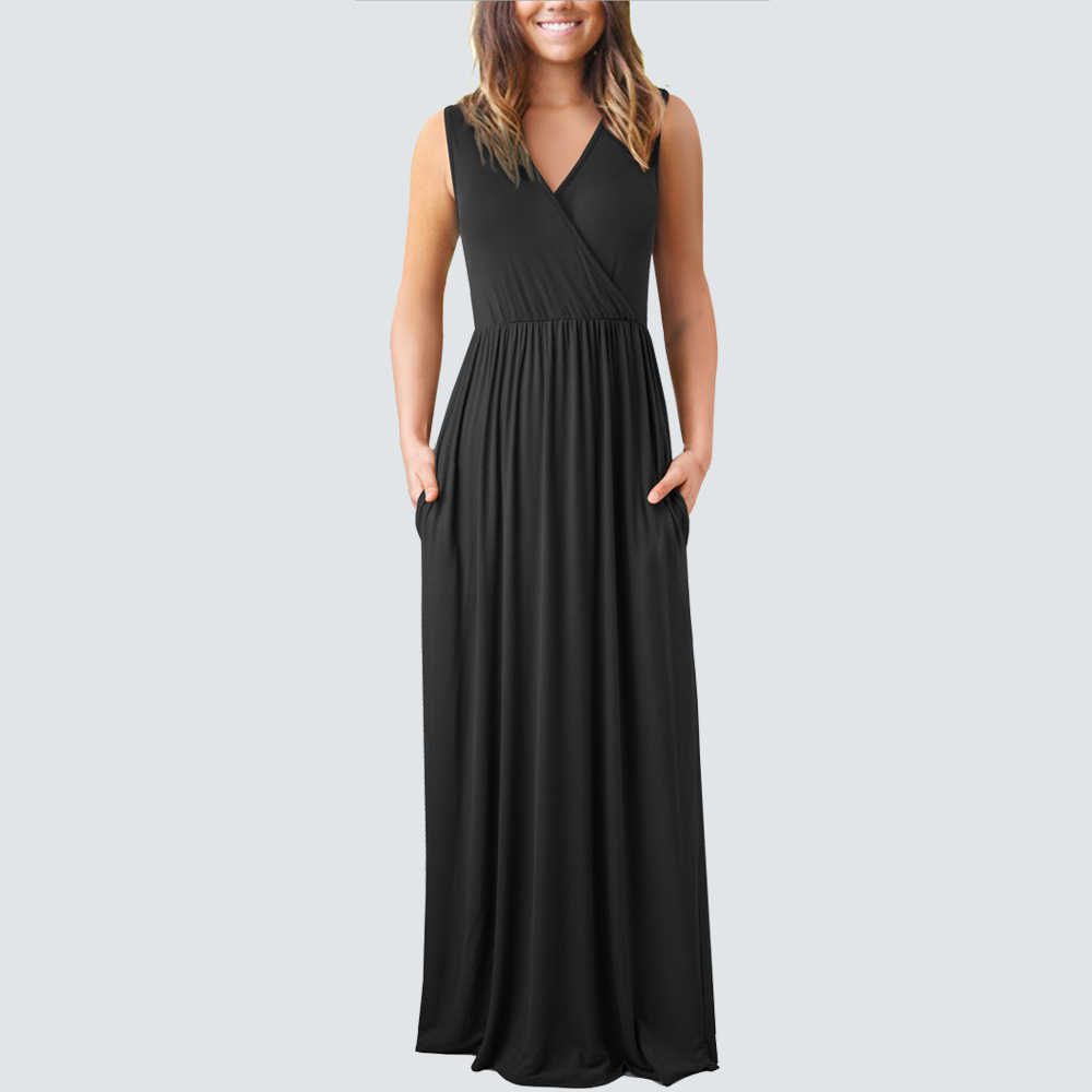 Женский Повседневный длинный сарафан без рукавов с v-образным вырезом, сексуальное одноцветное свободное пляжное платье HA162