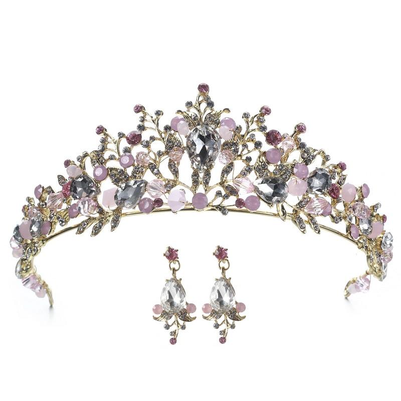 Crystal Tiara Flower Bride-Hair Jewelry Hair-Accessories Princess Crown Wedding