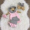 Мода Лета Малышей Новорожденный Ребенок Девушки полосатые Футболки Топ + полосатый шорты 2 шт. костюм Наряды Розовый Одежда Наборы