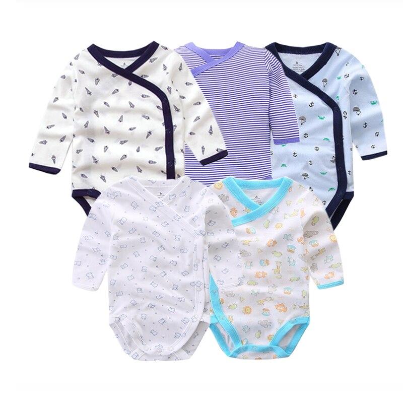 5 шт./лот Детские боди для новорожденных на осень 100% хлопковые боди с длинными рукавами для малышей; Нижнее белье; Комбинезоны для новорожденных мальчиков пижамы для девочек, одежда 4